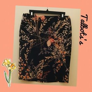 TALBOT'S▪️Black Coral Floral Straight Skirt
